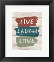 Framed live Laugh Love-Wood
