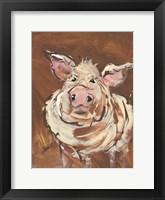 Framed Brown Pig