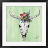 Framed Floral Bull Skull