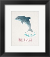 Framed Make a Splash Dolphin White