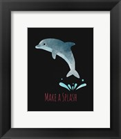 Framed Make a Splash Dolphin Black