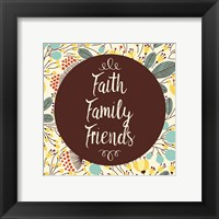 Framed Faith Family Friends Retro Floral White
