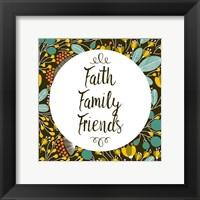 Framed Faith Family Friends Retro Floral Black