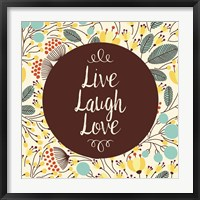Framed Live Laugh Love Retro Floral White