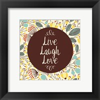Framed Live Laugh Love Retro Floral White