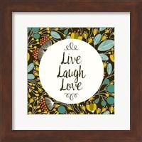 Framed Live Laugh Love Retro Floral Black