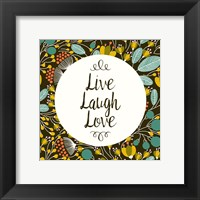 Framed Live Laugh Love Retro Floral Black