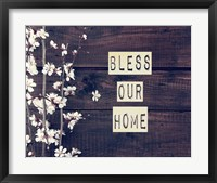 Framed Bless Our Home Flowers on Wood Background
