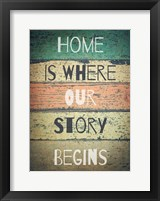 Framed Home is Where Our Story Begins Painted Wood