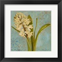 Framed Hyacinth on Teal I
