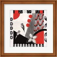 Framed Flower Deco Black and Red I