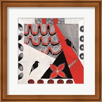 Framed Flower Deco Black and Red II