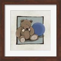 Framed Teddy Bear and Ball