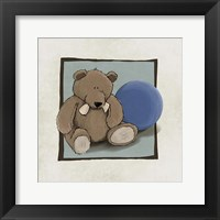 Framed Teddy Bear and Ball