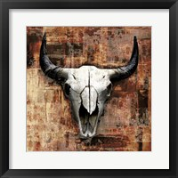 Framed Black Cowskull