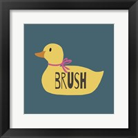 Framed Duck Family Girl Brush