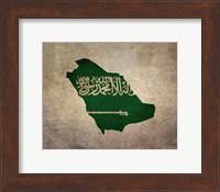 Framed Map with Flag Overlay Saudi Arabia