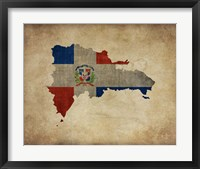 Framed Map with Flag Overlay Dominican Republic