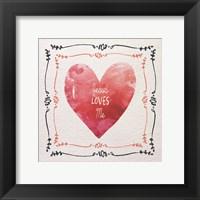 Framed Watercolor Heart Jesus Loves Me