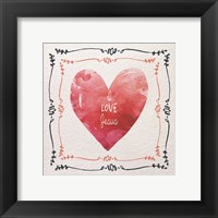 Framed Watercolor Heart I Love Jesus