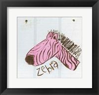 Framed Happy Pink Zebra