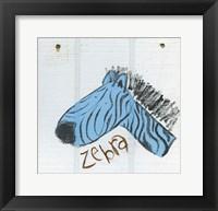 Framed Happy Blue Zebra