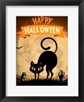 Framed Happy Halloween Black Cat