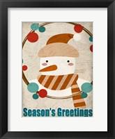 Framed Seasons Greetings Snowman