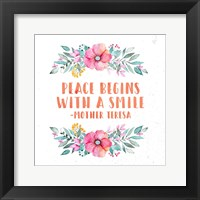 Framed Peace Begins With a Smile-Floral