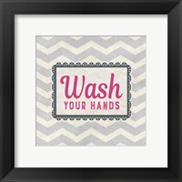 Framed Wash Your Hands Gray Pattern
