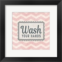 Framed Wash Your Hands Pink Pattern