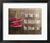 Framed No Time Limit No Speed Limit No Dream Limit Pink Shoes