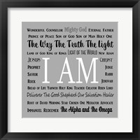 Framed Names of Jesus Square Black and White Text