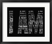 Framed Names of Jesus I AM Silhouette Black