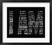 Framed Names of Jesus I AM Silhouette Black