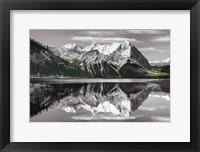 Framed Kananaskis Lake Reflection BW with Color