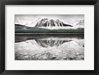 Framed Waterfowl Lake I BW with Color