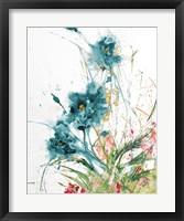 Framed Flora Blue Crop on White