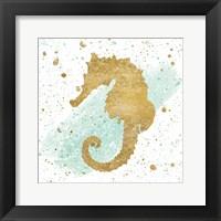 Framed Silver Sea Life Aqua Seahorse