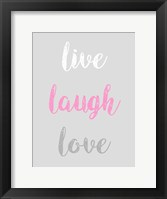 Framed Live Laugh Love - Gray with Pink Text
