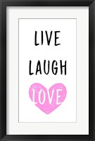 Framed Live Laugh Love - White with Pink Heart