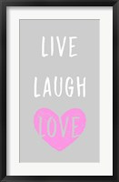 Framed Live Laugh Love - Gray with Pink Heart