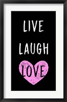 Framed Live Laugh Love - Black with Pink Heart