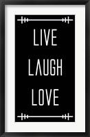 Framed Live Laugh Love - Black