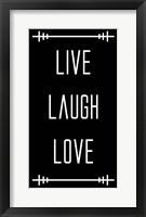Framed Live Laugh Love - Black