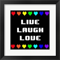 Framed Live Laugh Love -  Black with Pixel Hearts