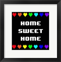 Framed Home Sweet Home -  Black with Pixel Hearts