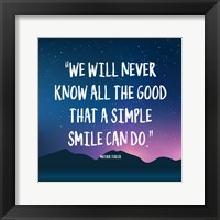 Framed Simple Smile - Mother Teresa Quote (Dusk)