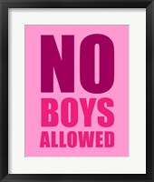 Framed No Boys Allowed - Pink