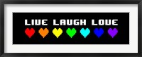 Framed Live Laugh Love -  Black Panoramic with Pixel Hearts